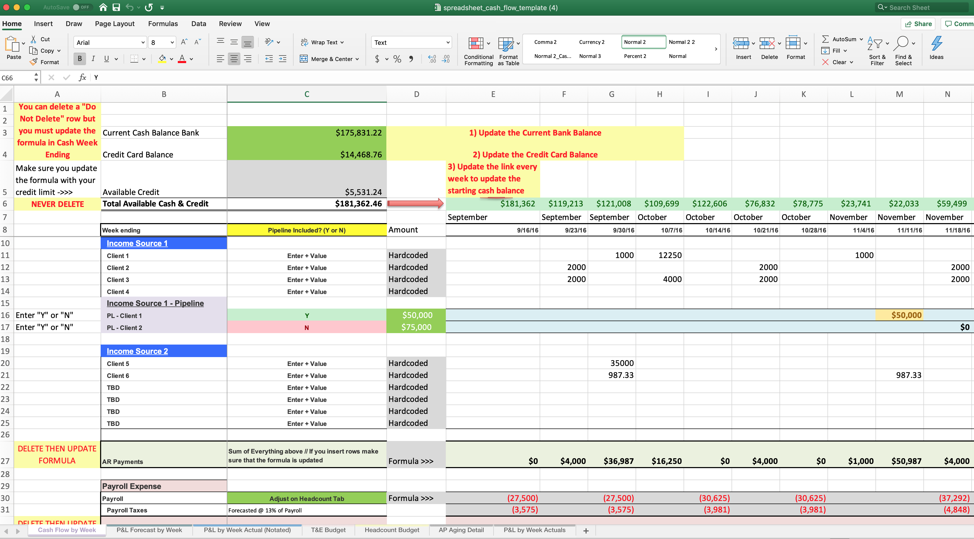 Cash Flow Template Finance Accounting Blog Focused Energy